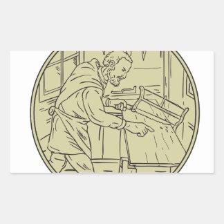 Medieval Carpenter Sawing Wood Circle Retro Sticker