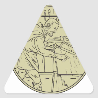 Medieval Carpenter Sawing Wood Circle Retro Triangle Sticker