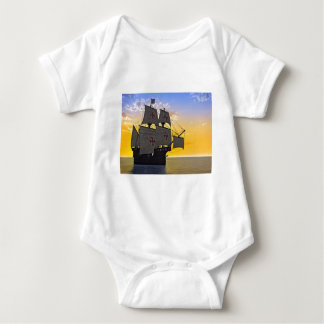 medieval carrack at sunset baby bodysuit