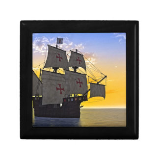medieval carrack at sunset gift box