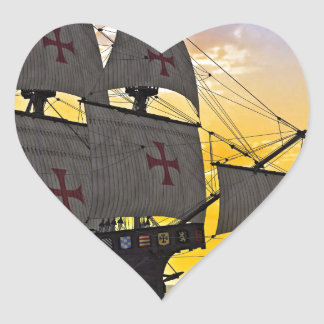 medieval carrack at sunset heart sticker