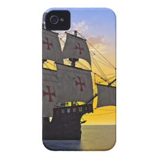 medieval carrack at sunset iPhone 4 case
