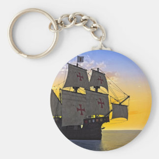 medieval carrack at sunset keychain