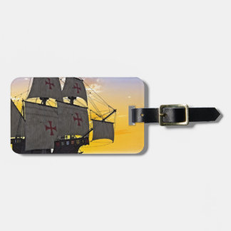 medieval carrack at sunset luggage tag