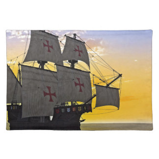 medieval carrack at sunset placemat