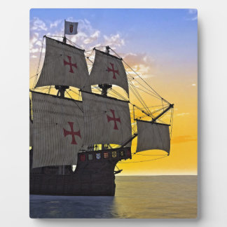 medieval carrack at sunset plaque
