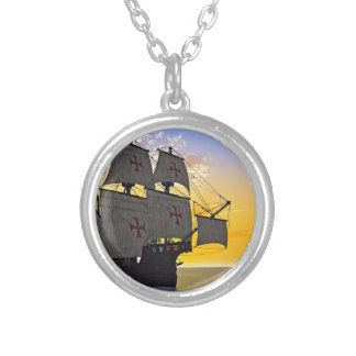 medieval carrack at sunset silver plated necklace