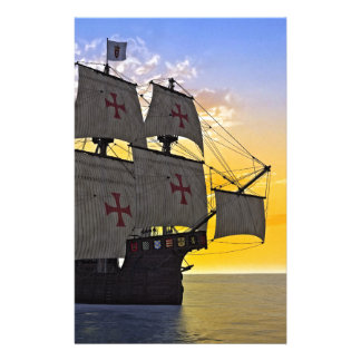 medieval carrack at sunset stationery