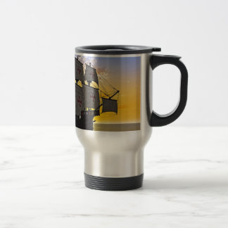 medieval carrack at sunset travel mug