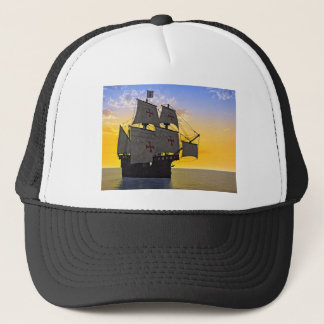 medieval carrack at sunset trucker hat