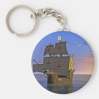 Medieval Carrack at Twilight Basic Round Button Keychain