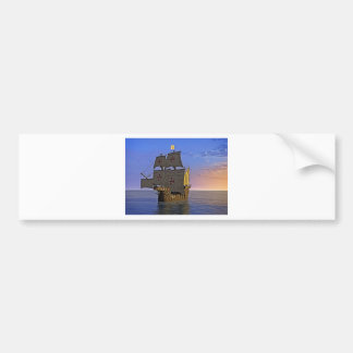 Medieval Carrack at Twilight Bumper Sticker