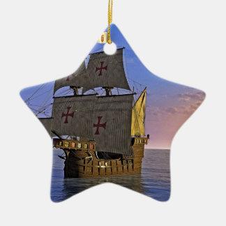 Medieval Carrack at Twilight Ceramic Ornament
