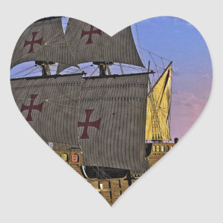 Medieval Carrack at Twilight Heart Sticker