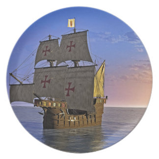 Medieval Carrack at Twilight Plate