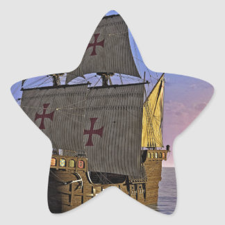 Medieval Carrack at Twilight Star Sticker