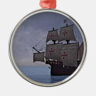 Medieval Carrack Becalmed Metal Ornament
