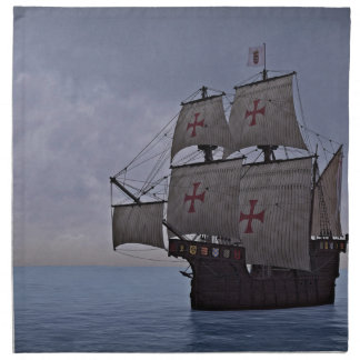 Medieval Carrack Becalmed Napkin