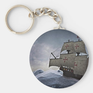 Medieval Carrack in the Storm Basic Round Button Keychain