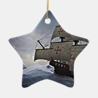Medieval Carrack in the Storm Ceramic Ornament