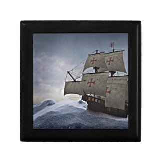 Medieval Carrack in the Storm Keepsake Boxes