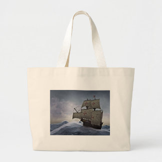 Medieval Carrack in the Storm Large Tote Bag