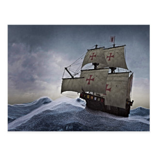 Medieval Carrack in the Storm Postcard