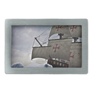 Medieval Carrack in the Storm Rectangular Belt Buckle