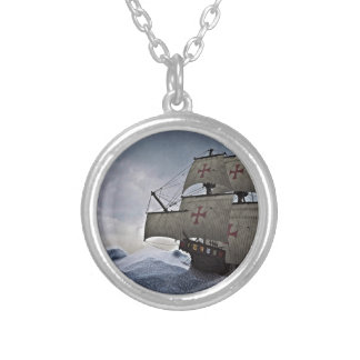 Medieval Carrack in the Storm Silver Plated Necklace
