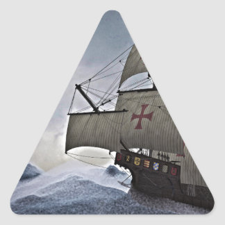 Medieval Carrack in the Storm Triangle Sticker