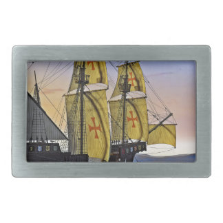 Medieval Carrack Leaving the rough water at Sunset Belt Buckles