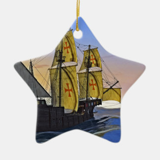 Medieval Carrack Leaving the rough water at Sunset Ceramic Ornament
