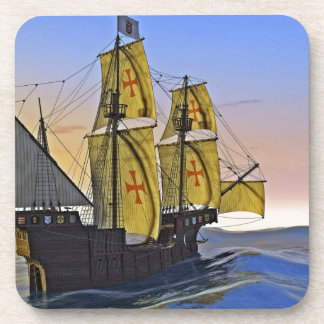 Medieval Carrack Leaving the rough water at Sunset Coaster