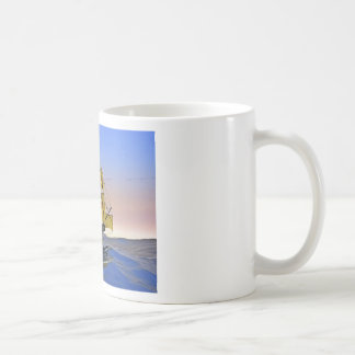 Medieval Carrack Leaving the rough water at Sunset Coffee Mug