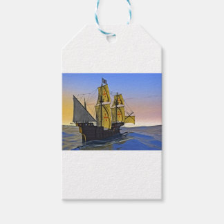 Medieval Carrack Leaving the rough water at Sunset Gift Tags