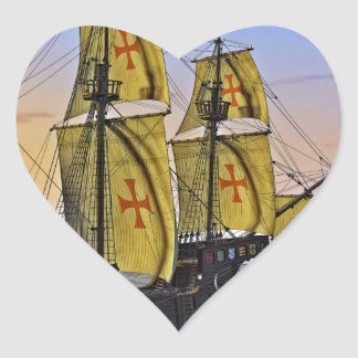 Medieval Carrack Leaving the rough water at Sunset Heart Sticker