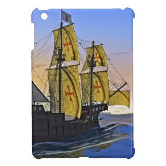Medieval Carrack Leaving the rough water at Sunset iPad Mini Cases