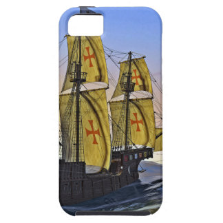 Medieval Carrack Leaving the rough water at Sunset iPhone 5 Covers