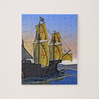 Medieval Carrack Leaving the rough water at Sunset Jigsaw Puzzle