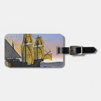 Medieval Carrack Leaving the rough water at Sunset Luggage Tag