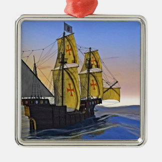 Medieval Carrack Leaving the rough water at Sunset Metal Ornament
