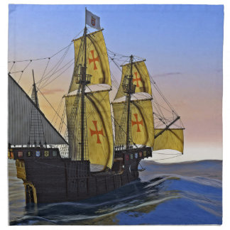 Medieval Carrack Leaving the rough water at Sunset Napkin