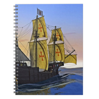 Medieval Carrack Leaving the rough water at Sunset Notebook