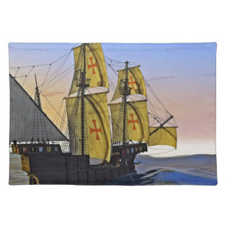 Medieval Carrack Leaving the rough water at Sunset Placemat