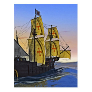 Medieval Carrack Leaving the rough water at Sunset Postcard