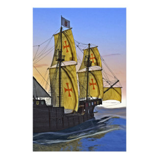 Medieval Carrack Leaving the rough water at Sunset Stationery