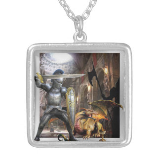 medieval castle knight and dragon necklace