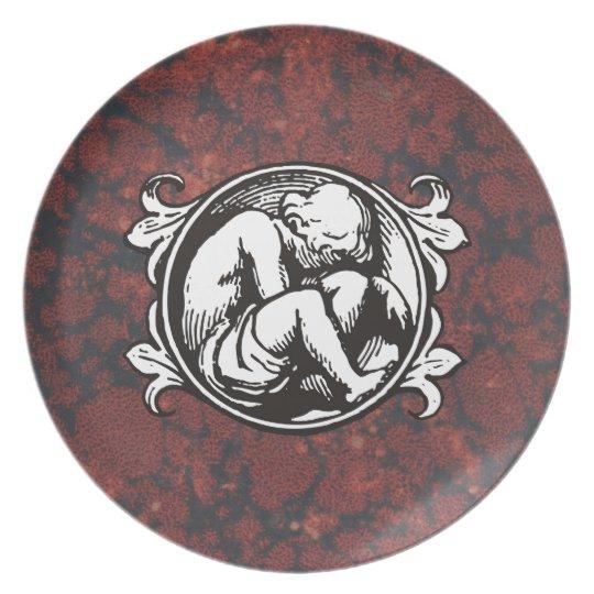 Medieval child (boy) against vintage marble plate