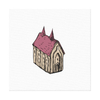 Medieval Church Drawing Canvas Print