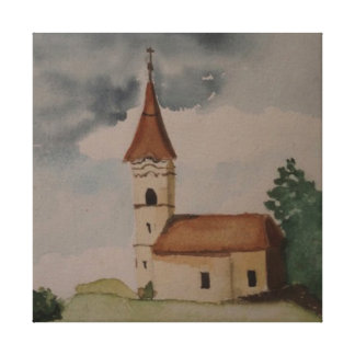 Medieval Church Watercolour Canvas Print